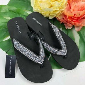 Lane Bryant embellished wedged sandals flip flop